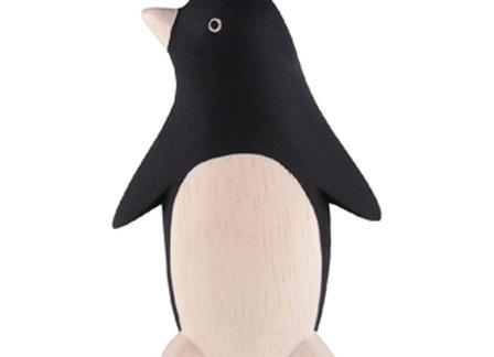 Pingouin sculpté en bois - Pole Pole T-lab - Blanc Bohème