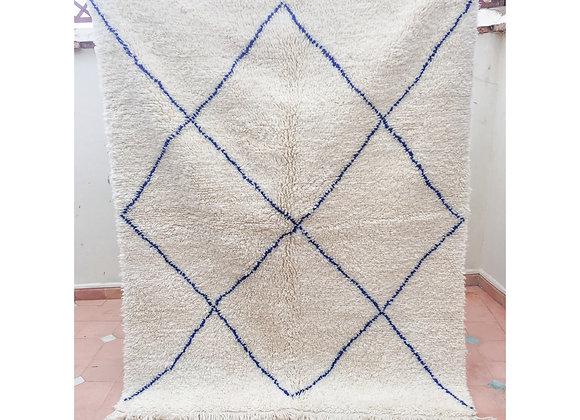 Tapis en laine , blanc cassé et bleu majorelle, 194 x 157 cm