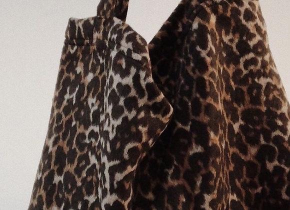 Grand sac cabas motif léopard - Blanc Bohème