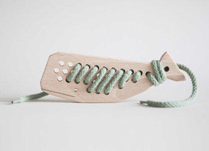 Baleine en bois à lacer - Jouet en bois - Blanc Bohème