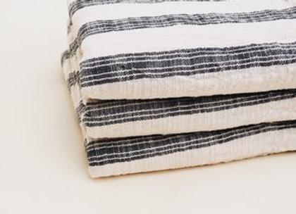 Drap de plage / Foutah beige rayures noires en coton