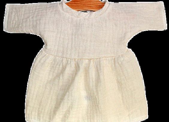 Robe Jeanne en double gaze de coton écru poupée Minikane
