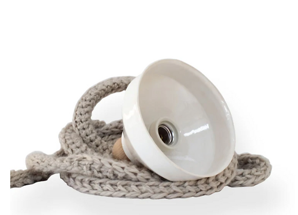 Lampe cordon céramique - Blanc Bohème