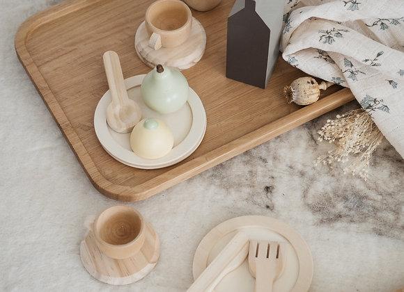 Service à thé - jouet - bois naturel - Blanc Bohème