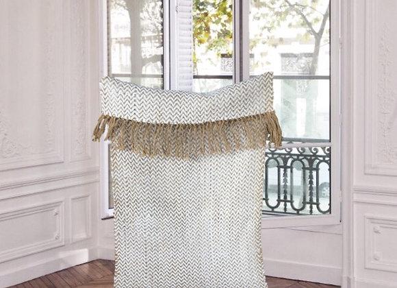 Tapis tissé en laine et chanvre - Blanc Bohème