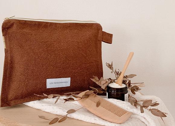 Trousse de toilette - coton marron - Blanc Bohème