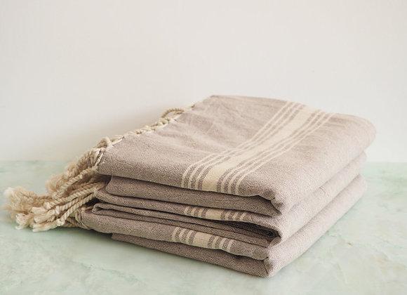 Foutah, serviette de plage en lin beige