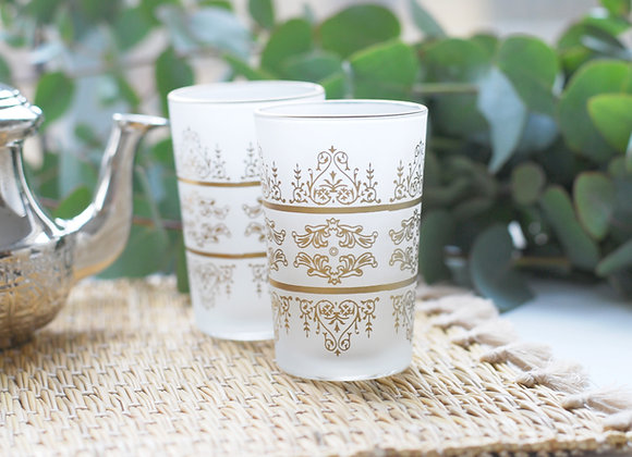 Verre à thé marocain doré - Blanc Bohème