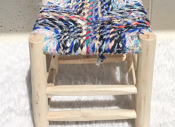 Tabouret marocain en bois et tissus