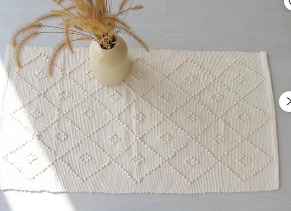 Tapis en coton recyclé blanc cassé - Blanc Bohème