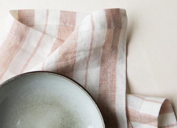 Serviettes de table larges rayures - Gabrielle Paris - Blanc Bohème