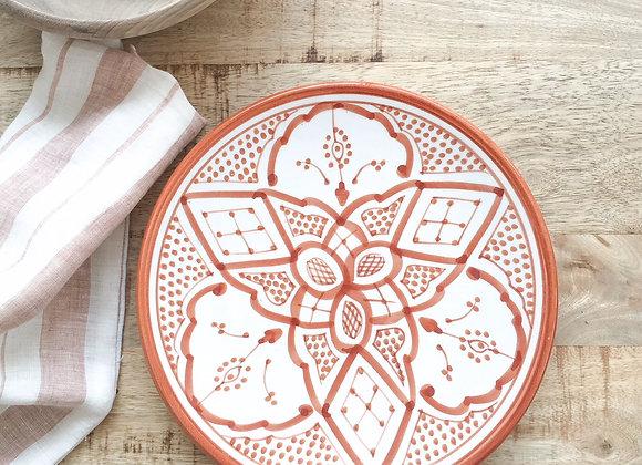Assiette en céramique motifs berbères terracotta