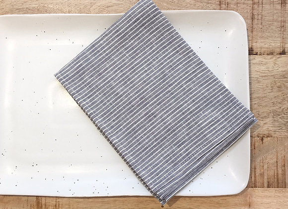 Torchon en Lin fines rayures grises Fog Linen - Blanc Bohème