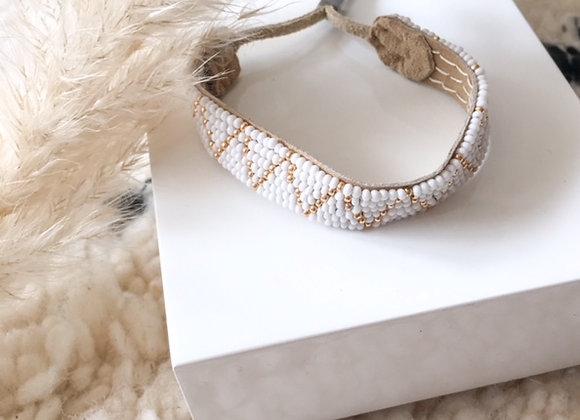 Bracelet ajustable en perles tissées, Blanc et doré