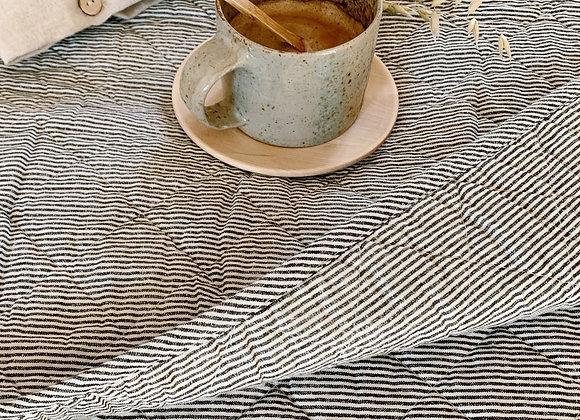 Plaid quilté, couvre-lit, coton - Blanc Bohème