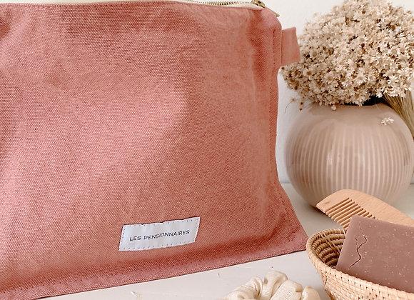 Trousse de toilette en coton rose - Blanc Bohème