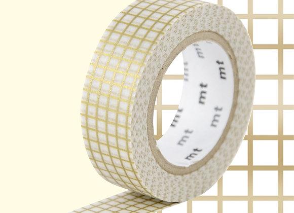 Masking tape doré quadrillé - Blanc Bohème