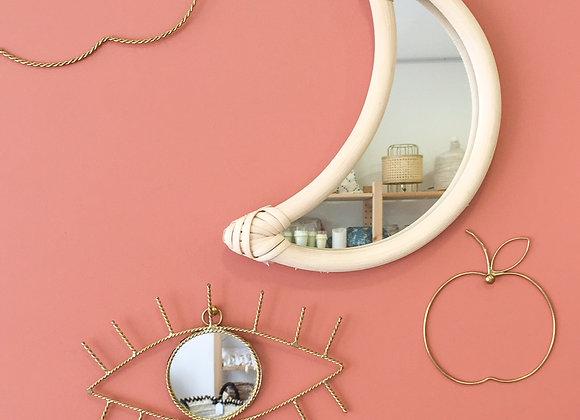 Miroir lune en rotin pour chambre enfant - Décoration murale