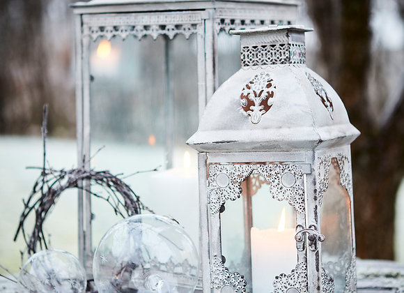Lanterne blanche en métal vieilli - Blanc Bohème