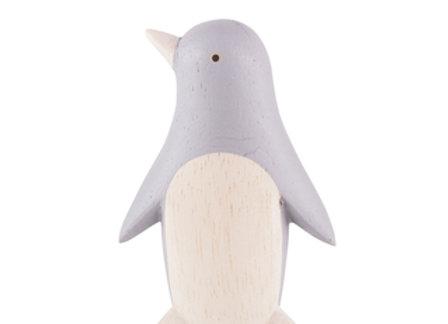 Pingouin gris sculpté en bois - Pole Pole T-lab - Blanc Bohème