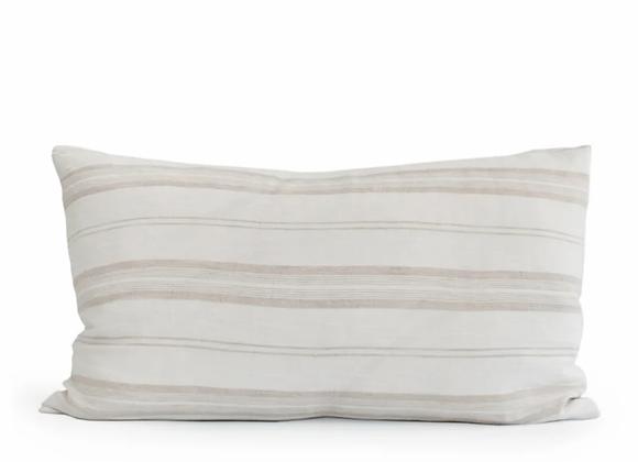 Housse de coussin en lin blanc rayé beige 40 x 60 cm