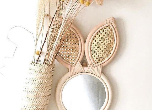 Miroir tête de lapin en rotin - blanc Bohème