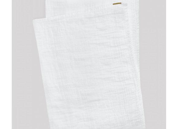Plaid en double gaze de coton Blanc - Blanc Bohème