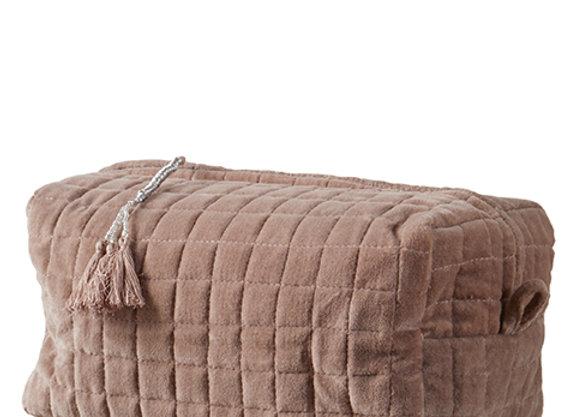 Trousse de toilette ou maquillage en velours vieux rose - Blanc Bohème