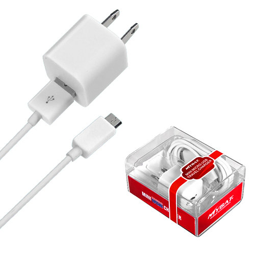 MYBAT MICRO USB White Travel Charger with USB Port (2-in-1)