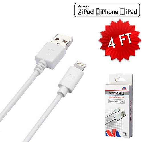 MYBAT White MFi Lightning SYNC CABLE
