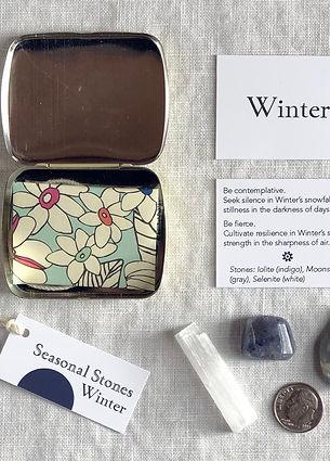Iolite, Selenite, Moonstone, Poetry, Winter