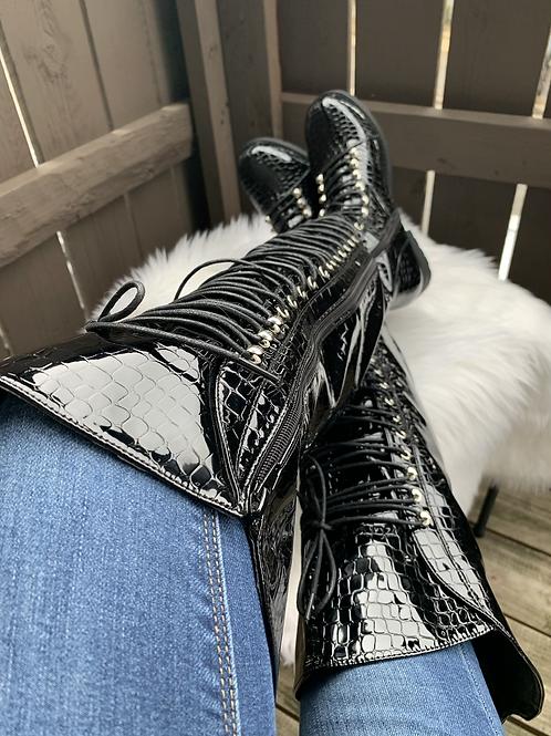 Morelia- Black Croc Patent Leather