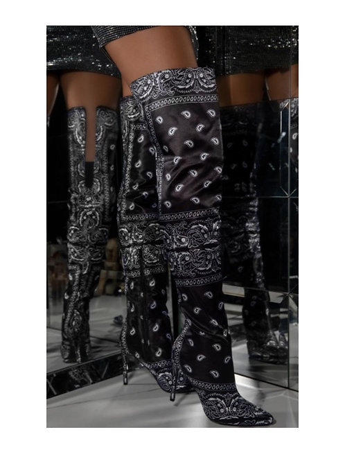 Black Bandanna Over the Knee Boots
