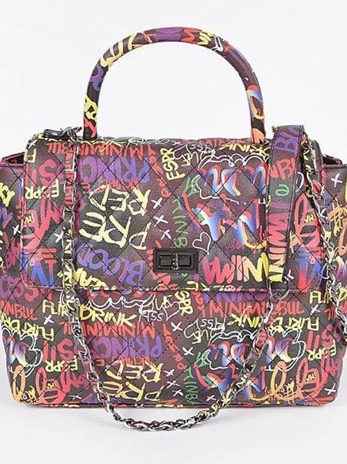 Graffiti Hand Bag- Black
