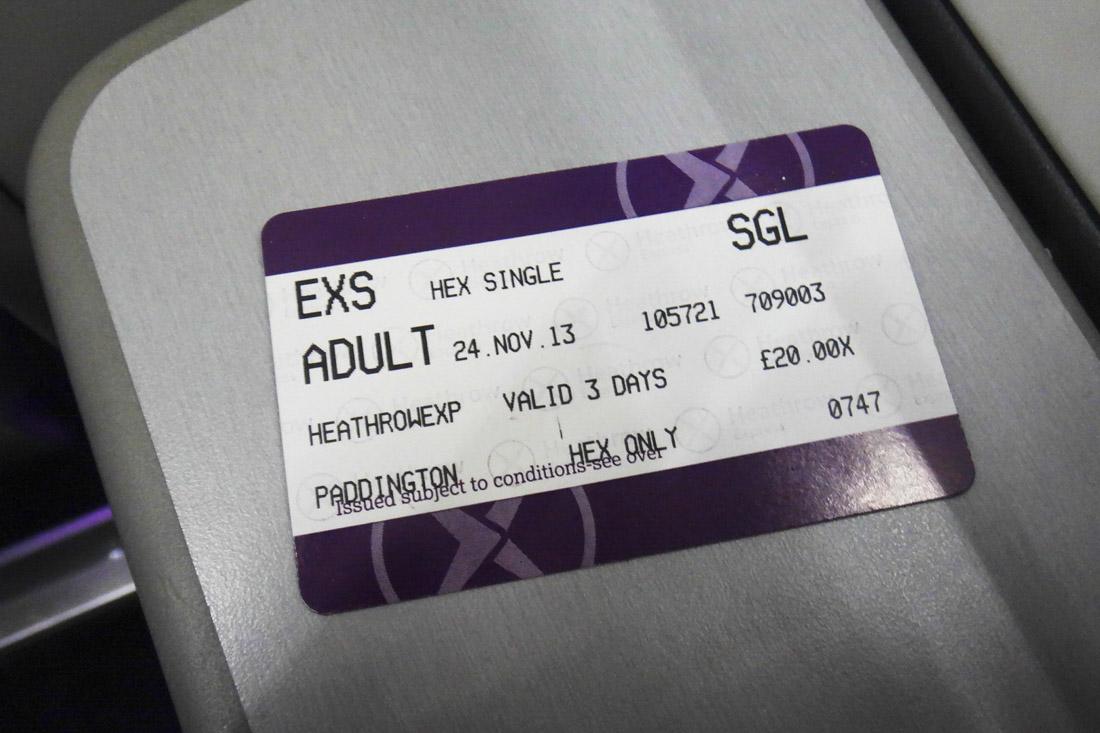 パディントン駅までの切符