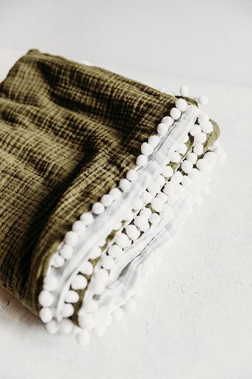 Gigi N Me Muslin Swaddle Blanket- Olive