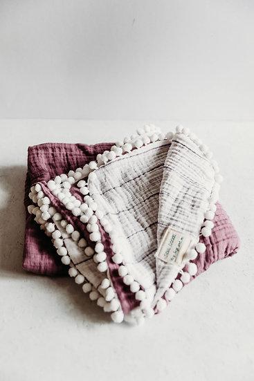 Gigi N Me Muslin Swaddle Blanket- Plum Stripe