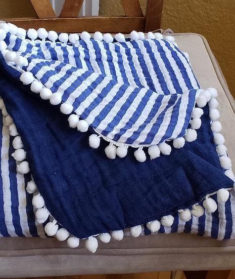 Gigi N Me Muslin Swaddle Blanket- Navy Stripe