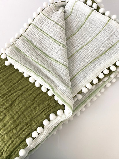 Gigi N Me Muslin Swaddle Blanket- Forest Stripe