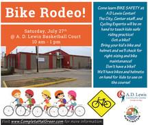 Bike Rodeo Saturday 7/27/19