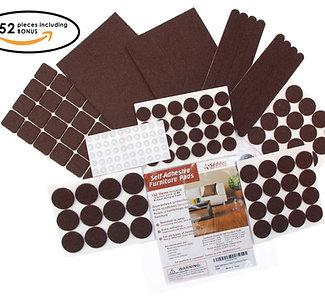 Seddox PREMIUM Felt Furniture Pads Set - 152 pieces with Bonus Rubber Bumper Pad