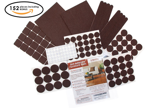 Seddox PREMIUM Felt Furniture Pads Set - 152 pieces with Bonus Rubber Bumper Pad