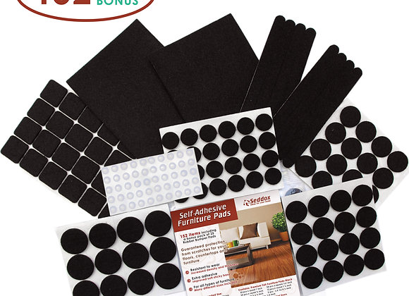Premium Felt Furniture Pads Set - 152 pieces - Black