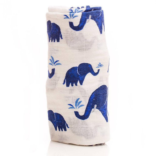 Single Muslin Cotton Swaddle - Indie Elephant