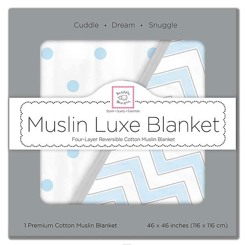 "Swaddle Designs - Muslin Luxe Blanket ""Chevron & French Dots"" BLUE"