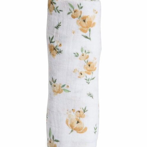 Single Muslin Cotton Swaddle - Yellow Rose