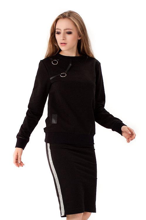 Bluza z metalowymi kółkami Czarna