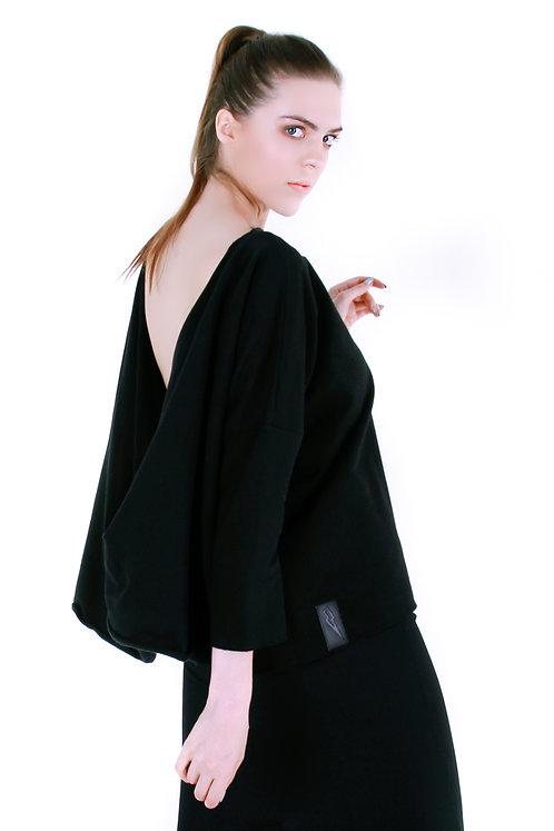 Bluza z odkrytymi plecami Czarna