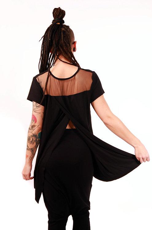 T-shirt z kopertowymi plecami i siatką Czarny