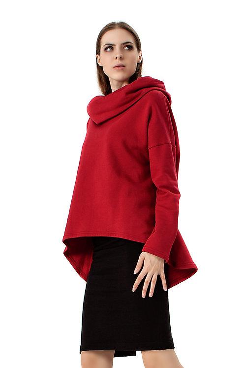 Bluza z kominem/kapturem - czerwona
